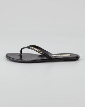 Burberry Patent Leather Flip Flop, Black