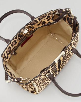 Valentino Rockstud Leopard-Print Shopper Tote
