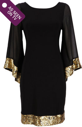 Wallis Black Kimono Sequin Dress