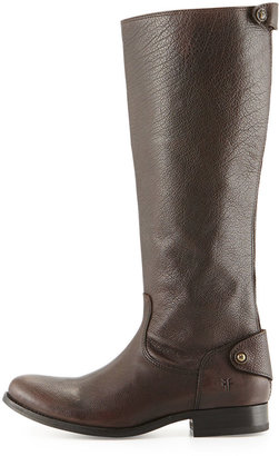 Frye Melissa Leather Zip-Back Riding Boot, Dark Brown