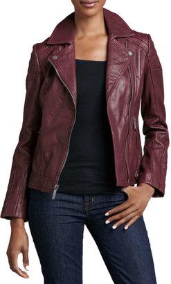 Neiman Marcus Notched-Collar Trapunto Leather Moto Jacket