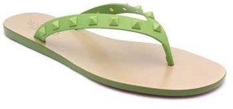 "Valentino EWS00235"" Green Leather Spike Thong"