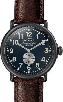 Shinola 'The Runwell' Leather Strap Watch, 47mm