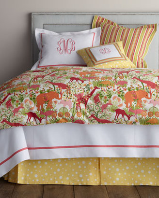 """Legacy Twin White Coverlet with Monogram, 66"""" x 90"""""""