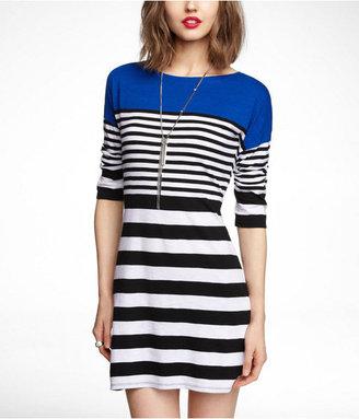 Express Mixed Stripe Drop Shoulder Slub Dress