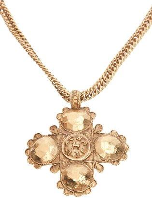 Chanel logo cross pendant necklace