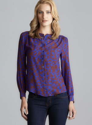 Gerard Darel Floral Button Down Silk Blouse