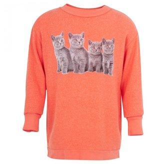 Wildfox Couture Orange Kitten Print Sweatshirt