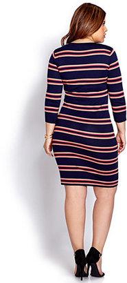 Forever 21 FOREVER 21+ Festive Striped Sweater Dress