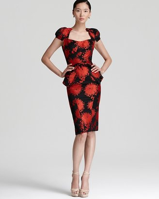 Zac Posen Runway Dress - Peony Printed with Cap Sleeves