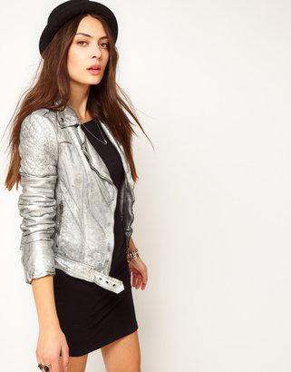 Muu Baa Muubaa Leather Biker Jacket with Quilted Detailing in Silver