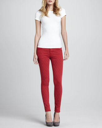 Vince D-ID Denim Quilted-Stitching Skinny Jeans, Red