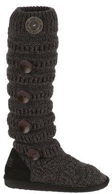 Muk Luks Miranda Women Marled Texture Stripe Boot Ebony
