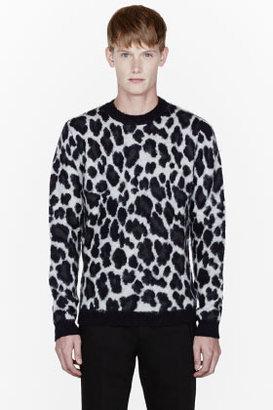 Raf Simons Navy merino wool leopard spot sweater