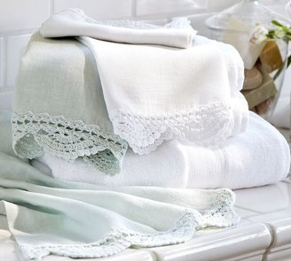 Pottery Barn Crochet Trimmed Guest Towels, Set of 2