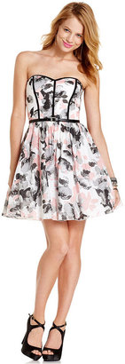 Speechless Juniors Dress, Strapless Floral-Print A-Line
