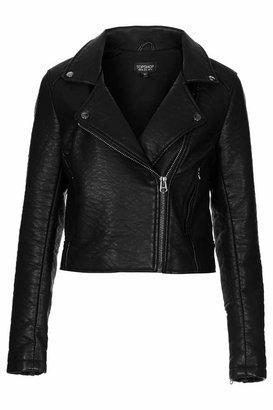 Topshop Textured clean faux leather biker jacket with dark silver trims 100% polyurethane. machine washable.