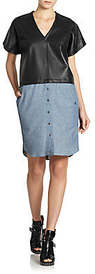 Derek Lam Leather Contrast Denim Dress