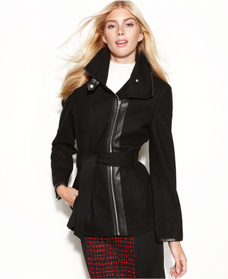 INC International Concepts Coat, Asymmetrical Faux-Leather-Trim Belted