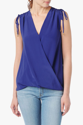 7 For All Mankind Twist Cowl Top In Spectrum Blue