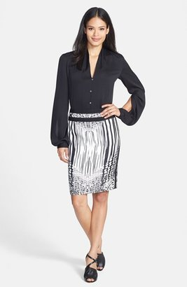 Rachel Roy Stretch Silk Split Sleeve Blouse