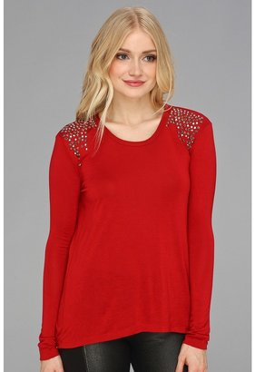 Vince Camuto TWO by Sparkle Shoulder L/S Tee (China Red) - Apparel