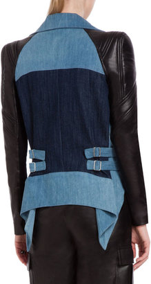 BCBGMAXAZRIA Augie Denim and Leather Jacket