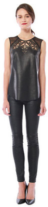 Cynthia Vincent Etched Leather Blouse