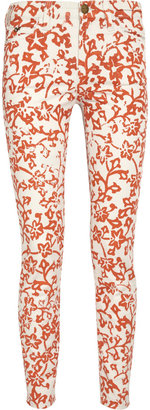Diane von Furstenberg Current/Elliott The Classic Skinny printed low-rise jeans