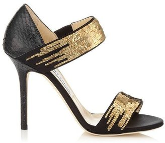 Jimmy Choo Tallow Black Elaphe with Degrade Sequins on Black Satin Evening Sandals