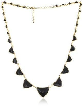 House Of Harlow Gold-Plated Pyramid Station Black Resin Necklace