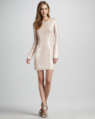 Diane von Furstenberg Menaro Sequined Long-Sleeve Dress
