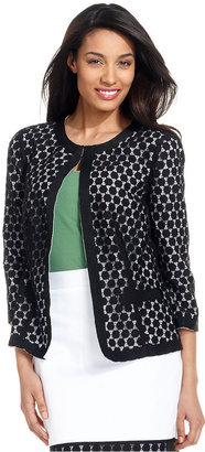 Charter Club Jacket, Three-Quarter-Sleeve Lace Blazer