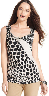 Style&Co. Petite Top, Sleeveless Cowl-Neck Printed Jersey