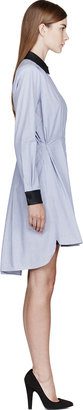 Band Of Outsiders Blue Pinstriped Leather-Trimmed Shirt Dress
