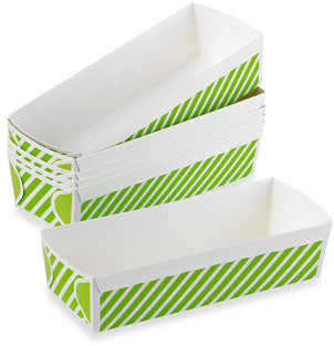 Bed Bath & Beyond Rectangular Large Loaf Paper Baking Pans in Green Stripe - Set of 6