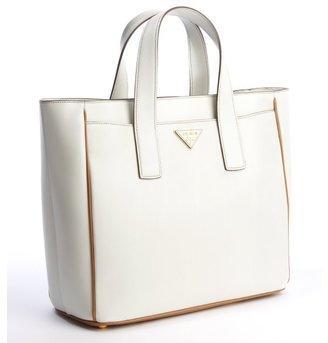 Prada talc and caramel leather small square tote bag