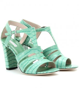 Dries Van Noten CROCO-EMBOSSED T-STRAP LEATHER SANDALS