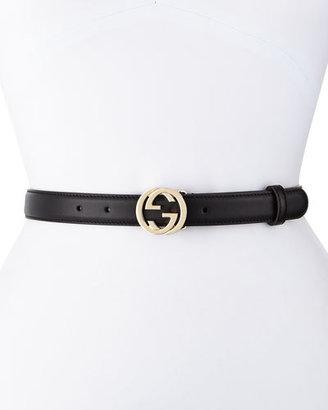 Gucci Interlocking G-Buckle Belt, Black $330 thestylecure.com