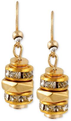 Kenneth Cole New York Earrings, Gold-Tone Pave Geometric Bead Drop Earrings