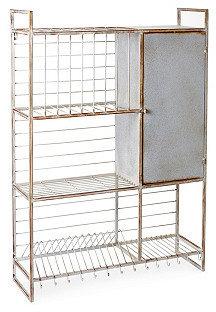 Metal Wall Rack w/ Shelves & Hooks