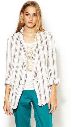 Maje Laella Striped Textured Cotton Blazer