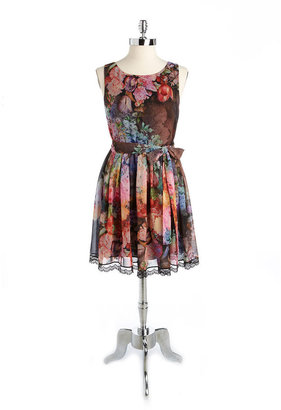 Betsey Johnson Belted Floral Dress