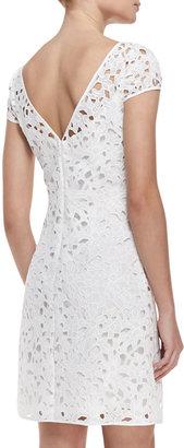 Ali Ro Cap-Sleeve Overlay Lace Dress, Optic White
