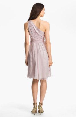 Amsale One Shoulder Belted Silk Chiffon Dress