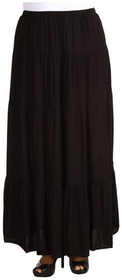 MICHAEL Michael Kors Plus Size Silky Rayon Tiered Maxi Skirt (Black) - Apparel