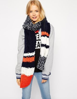 Asos Scarf With Chunky Stripe Cable Mixed Knit