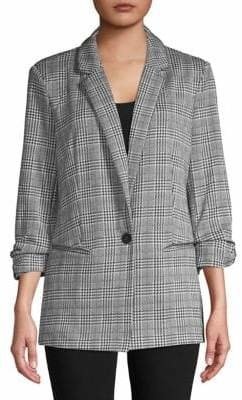 Lord & Taylor Design Lab Plaid Jacquard Knit Blazer