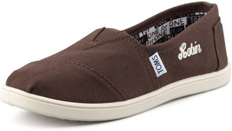 Toms Personalized Classic Canvas Slip-On, Chocolate, Youth