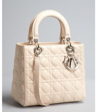 Christian Dior ivory cannage quilted lambskin 'Lady Dior' medium top handle bag